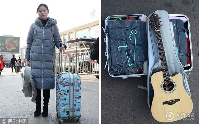 艺考生的行囊里装了什么:有女生背的乐器比人还高