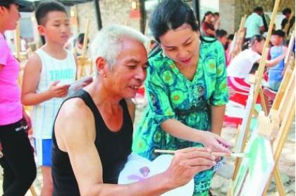 霞浦县下村村农民油画队:_执起画笔绘山村
